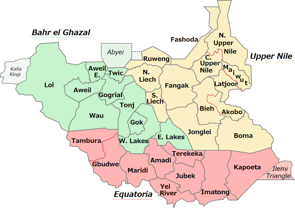 South Sudan's current 32 states