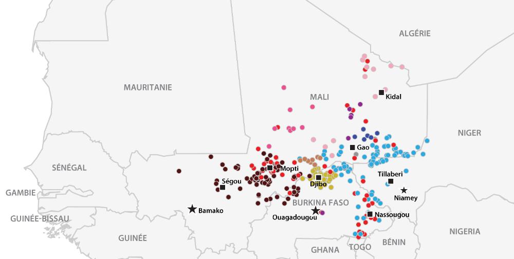 Événements violents liés aux groupes Islamistes militants au Sahel en 2018