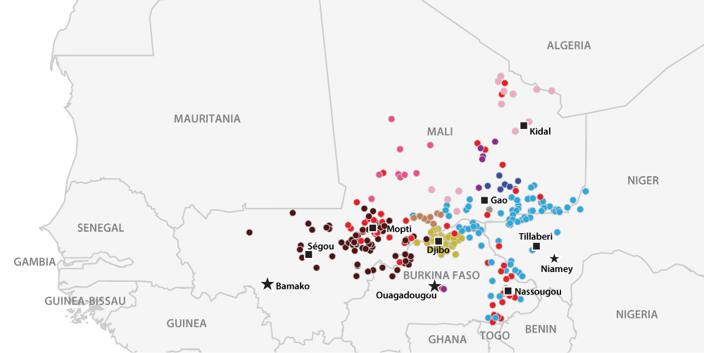 Map of Violent Events Linked to Militant Islamist Groups in the Sahel in 2018