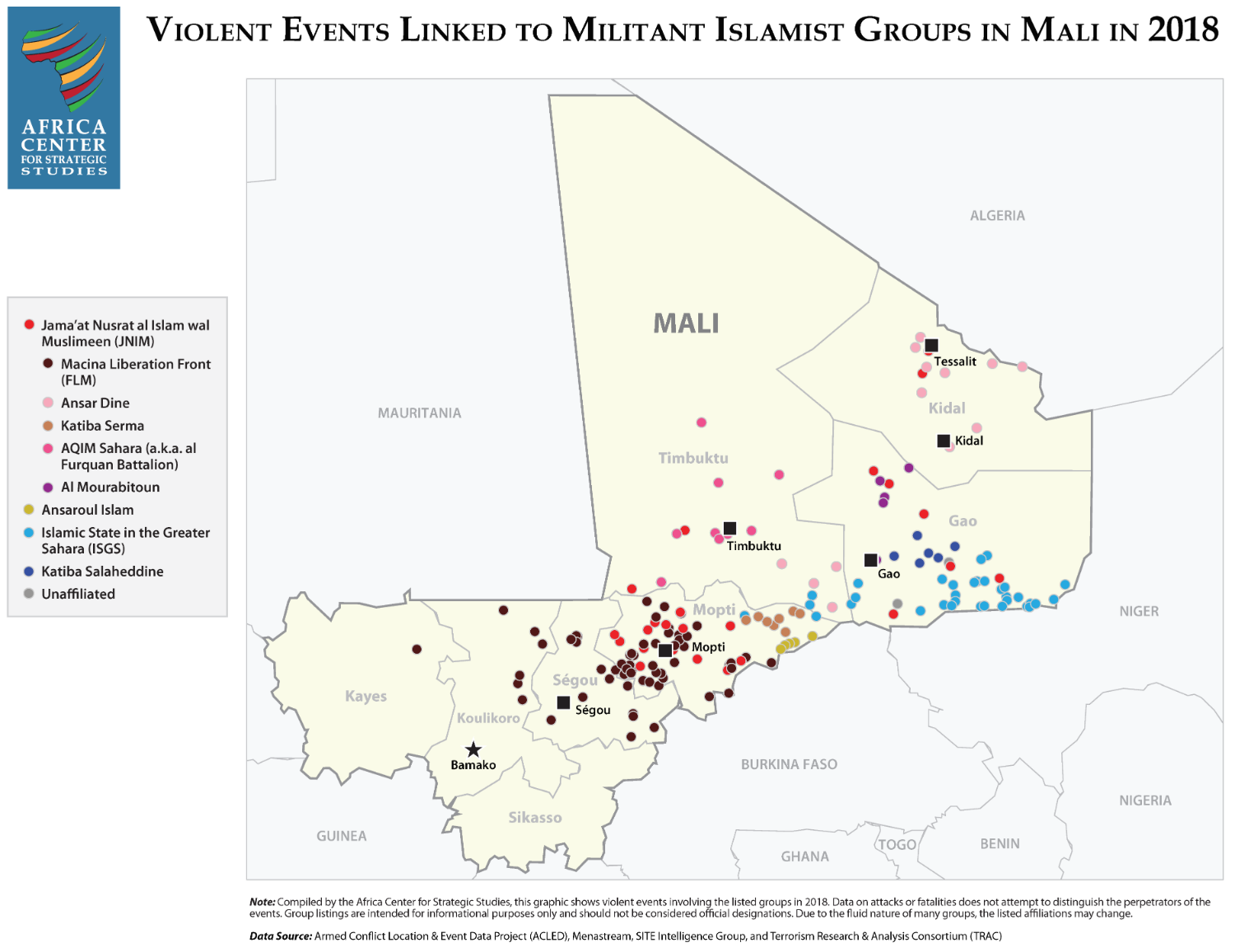 Violent Events Linked to Militant Islamist Groups in Mali in 2018