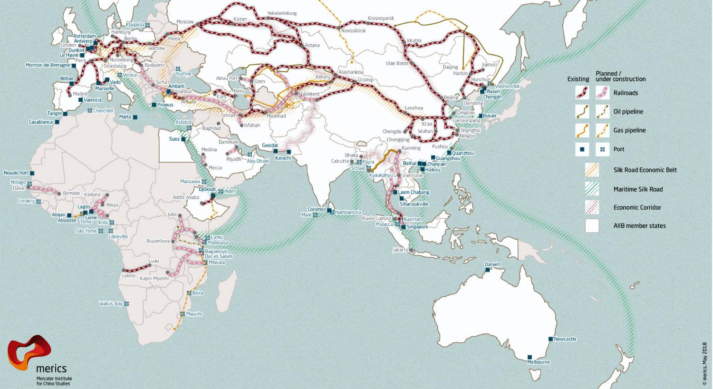 """Carte du réseau """"Une ceinture, une route """""""