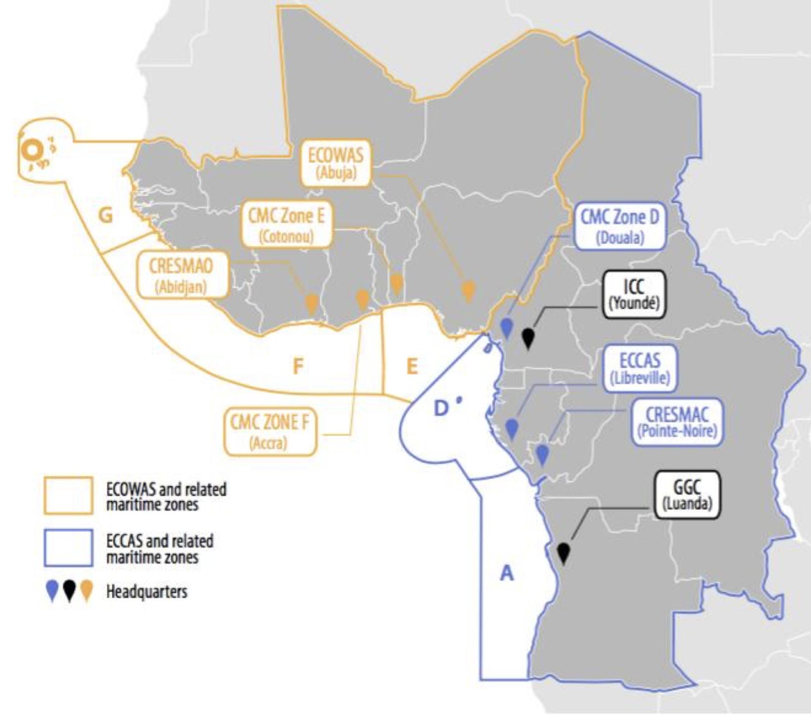 ICC et CMC Golfe de Guinée décrivent avec la CEDEAO, la CEEAC et les zones maritimes connexes.