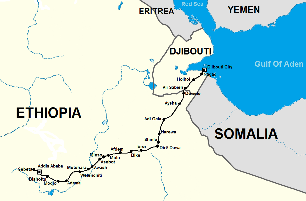 Map of the Addis Ababa–Djibouti Railway