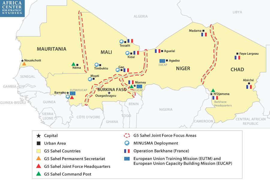 Security Responses in Sahel Map