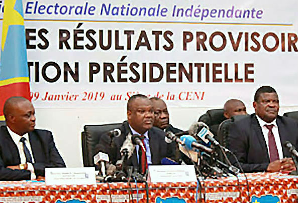 Election officials shortly before the January 10, 2019, announcement of the DRC election results.