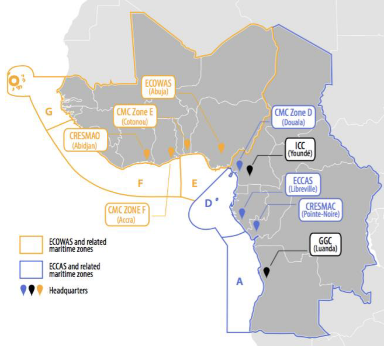 ICC and CMC Gulf of Guinea outline with ECOWAS, ECCAS, and related maritime zones