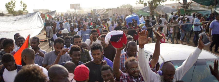 Protesters outside the Sudanese military headquarters in Khartoum