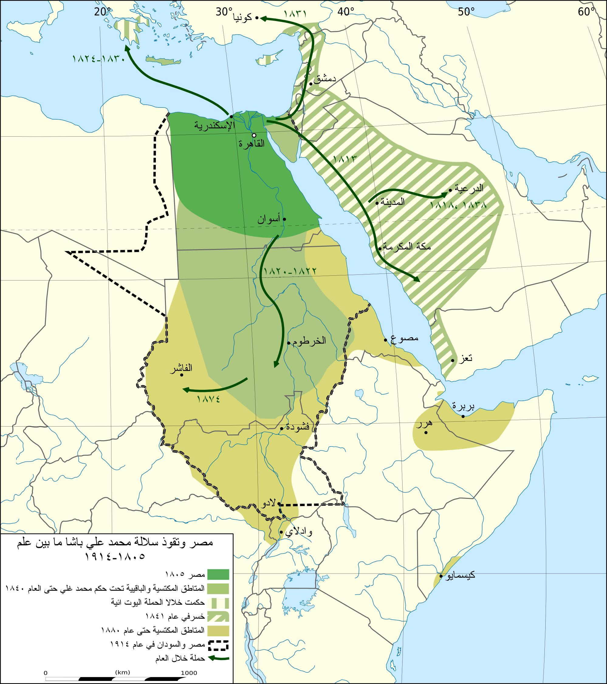 نفوذ سلالة محمد علي باشا، ما بين عام ١٨٠٥-١٩١٤