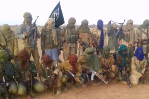 Ansaroul Islam militants in northern Burkina Faso, date unknown. (Image: Screen capture from video obtained by Héni Nsaibia from source in Mali)