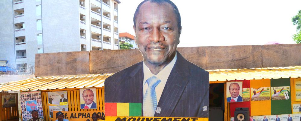 A billboard of Alpha Condé, Président du Guinée