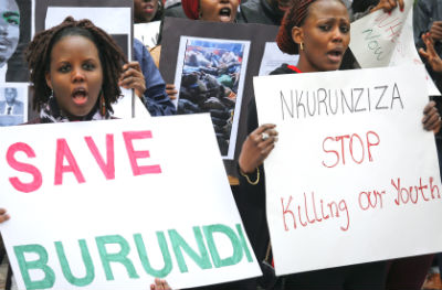 Burundi nationals protest outside the UN in April 2016
