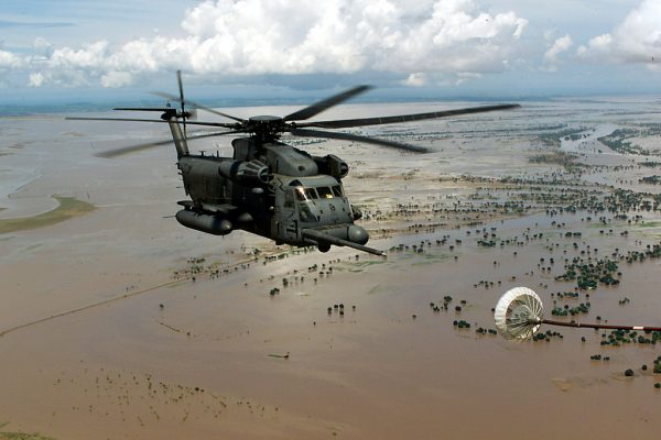 Helicopter flies over flooded Central Mozambique.