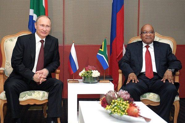 Vladimir Putin with Jacob Zuma of South Africa