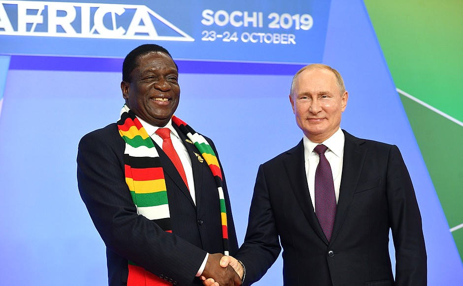 Russian President Vladimir Putin with the President of Zimbabwe Emmerson Dambudzo Mnangagwa at the Russia-Africa Summit, 2019.