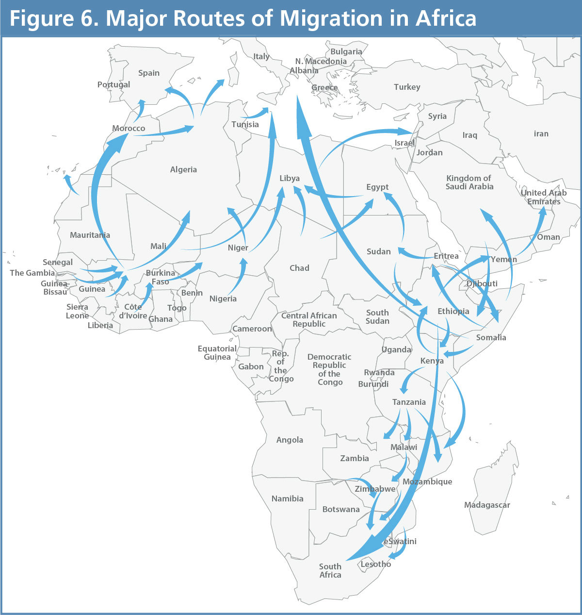Shifting Borders Figure 6 - Major Routes of Migration in Africa