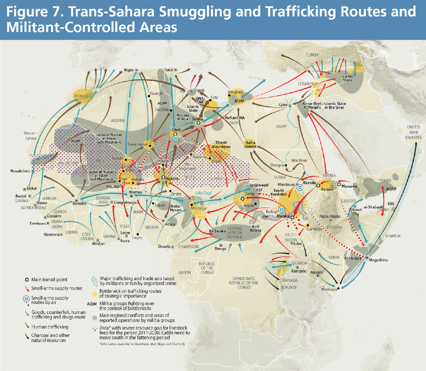 Shifting Borders Figure 7 - Trans-Sahara Smuggling and Trafficking Routes and Militant-Controlled Areas