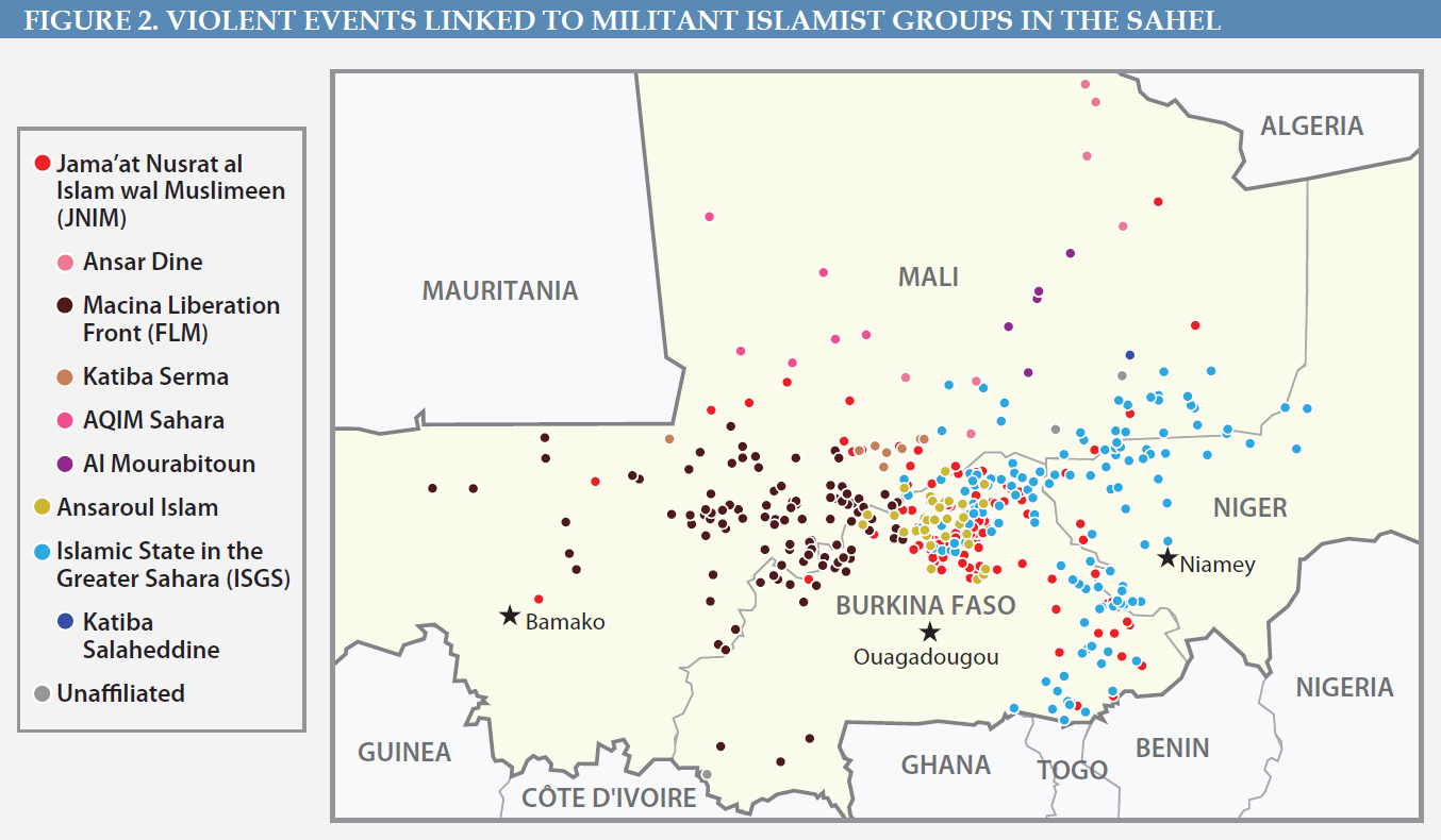 Figure 2. Violent Events Linked to Militant Islamist Groups in the Sahel