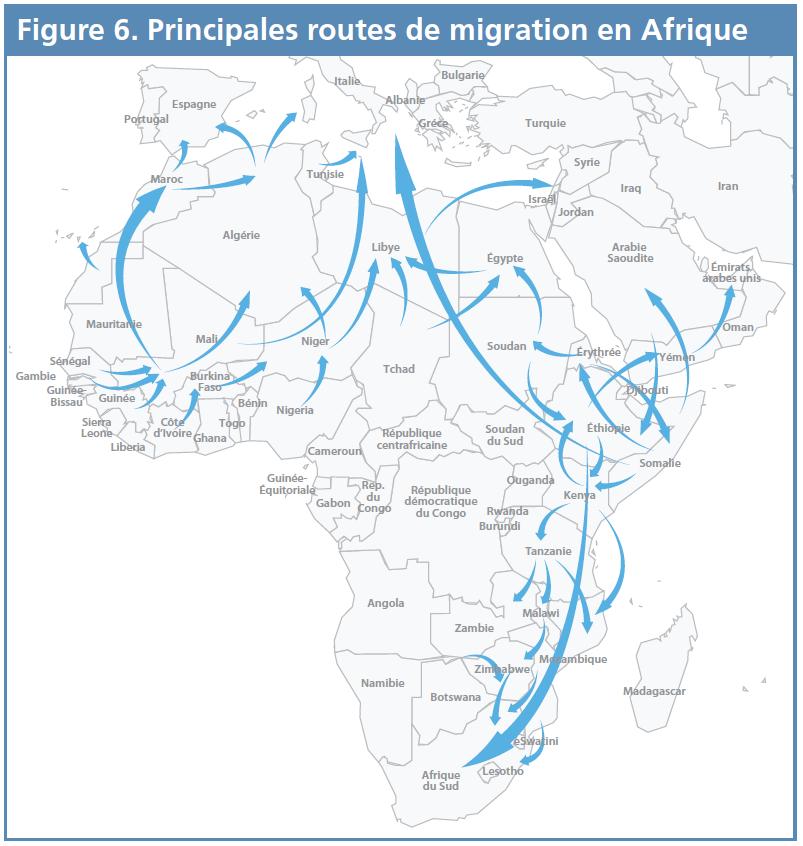Figure 6 - Principales routes de migration en Afrique