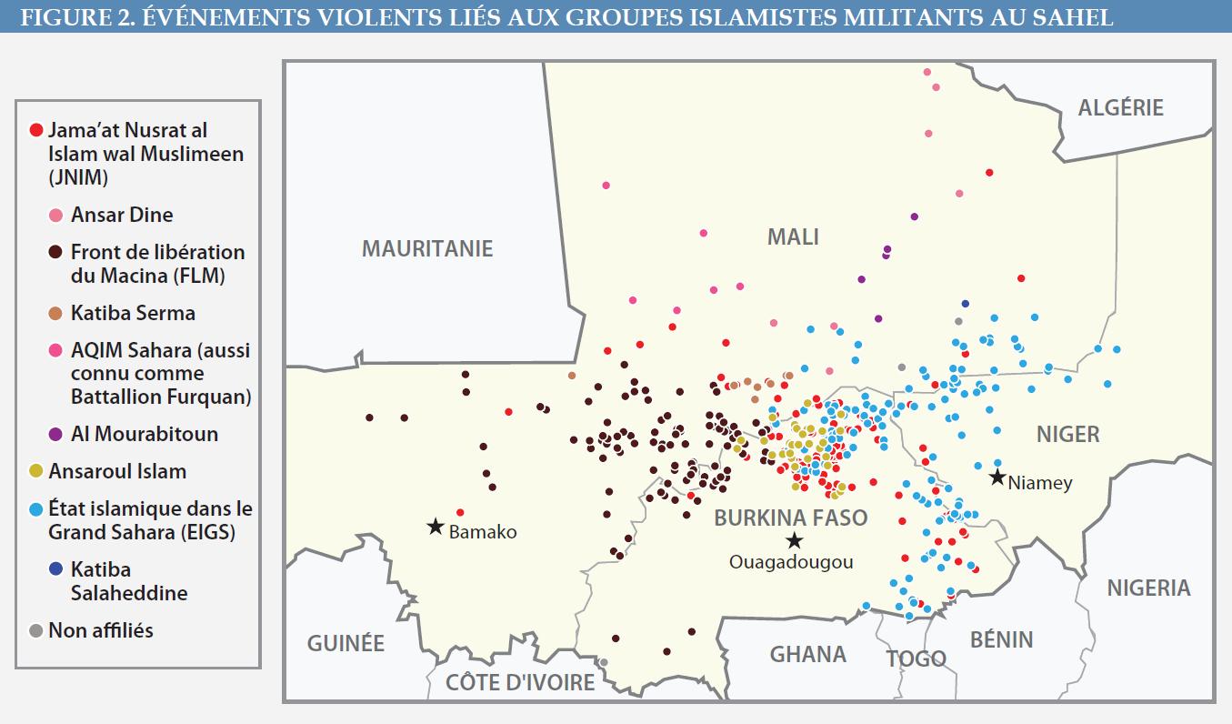 Figure 2 - Événements violents liés aux groupes islamistes militants au Sahel