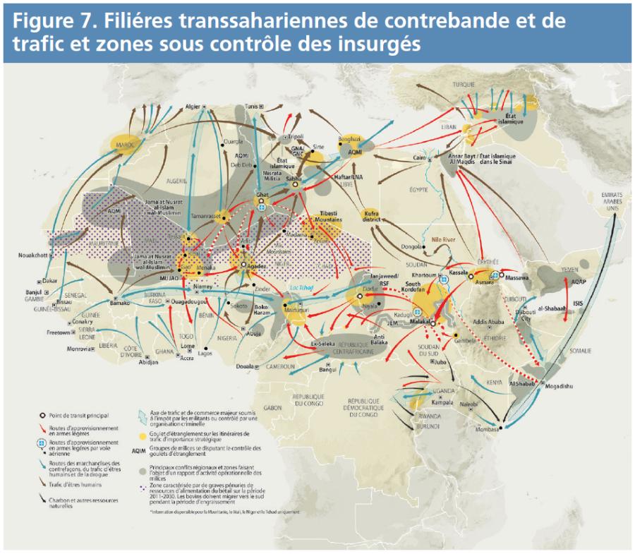 Figure 7 - Filières transsahariennes de contrebande et de trafic et zones sous contrôle des insurgés