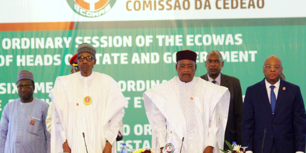 Nigerian President Muhammadu Buhari and President of the ECOWAS Commission Jean-Claude Kass Brou at the opening of 56th Ordinary Session of the ECOWAS Heads of State and Government. (Photo: ECOWAS)