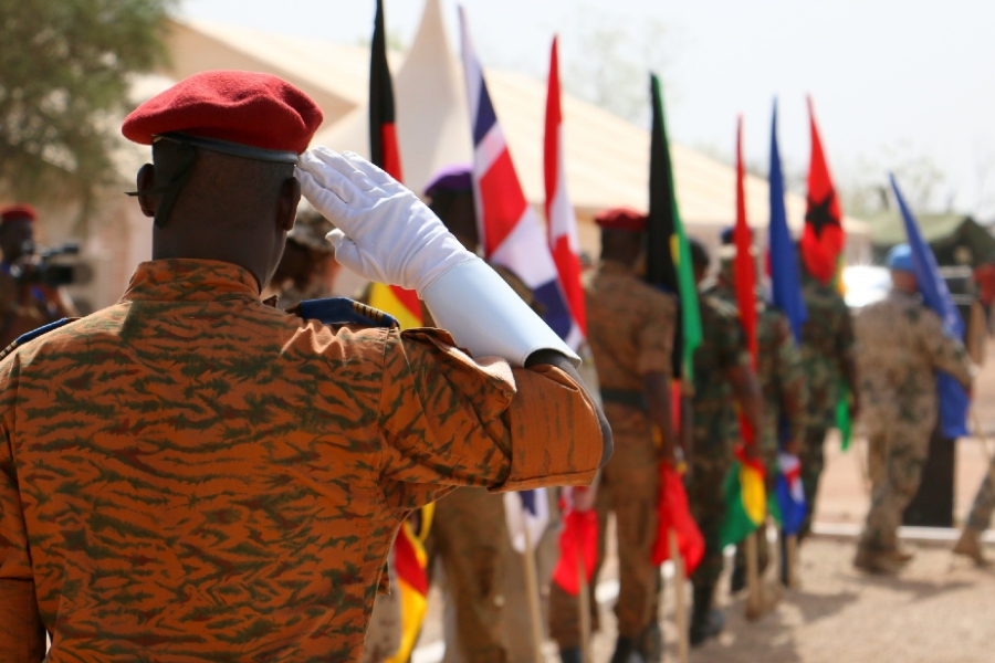 A soldier from Burkina Faso saluting during the Western Accord 16 joint military exercise.
