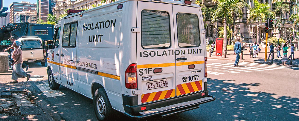 Ambulance meant to respond to COVID-19 suspected cases in Durban, South Africa.