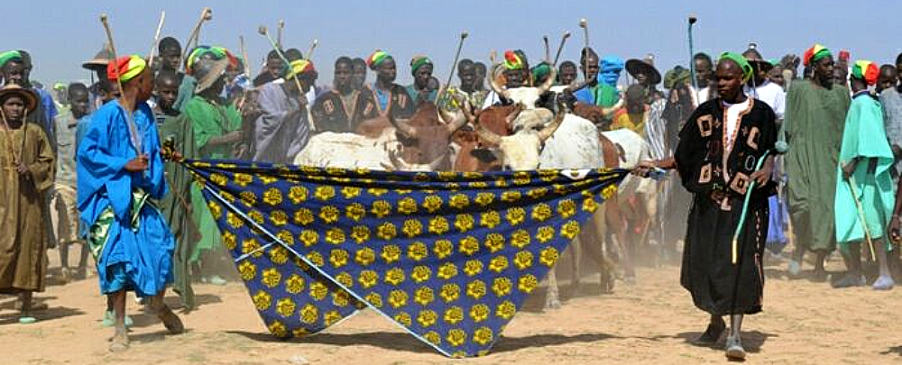 Fulani shepherds celebrating le retour le yaaral de Diafarabé in central Mali