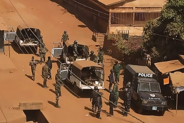 Guinea security forces deployed during the March 22 vote