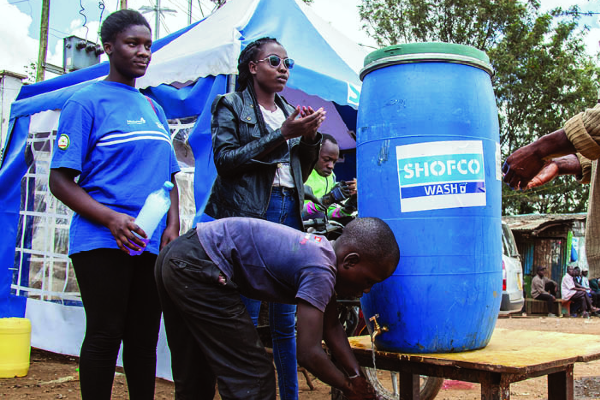Local COVID-19 response: A Shofco handwashing station in Kibera, Nairobi