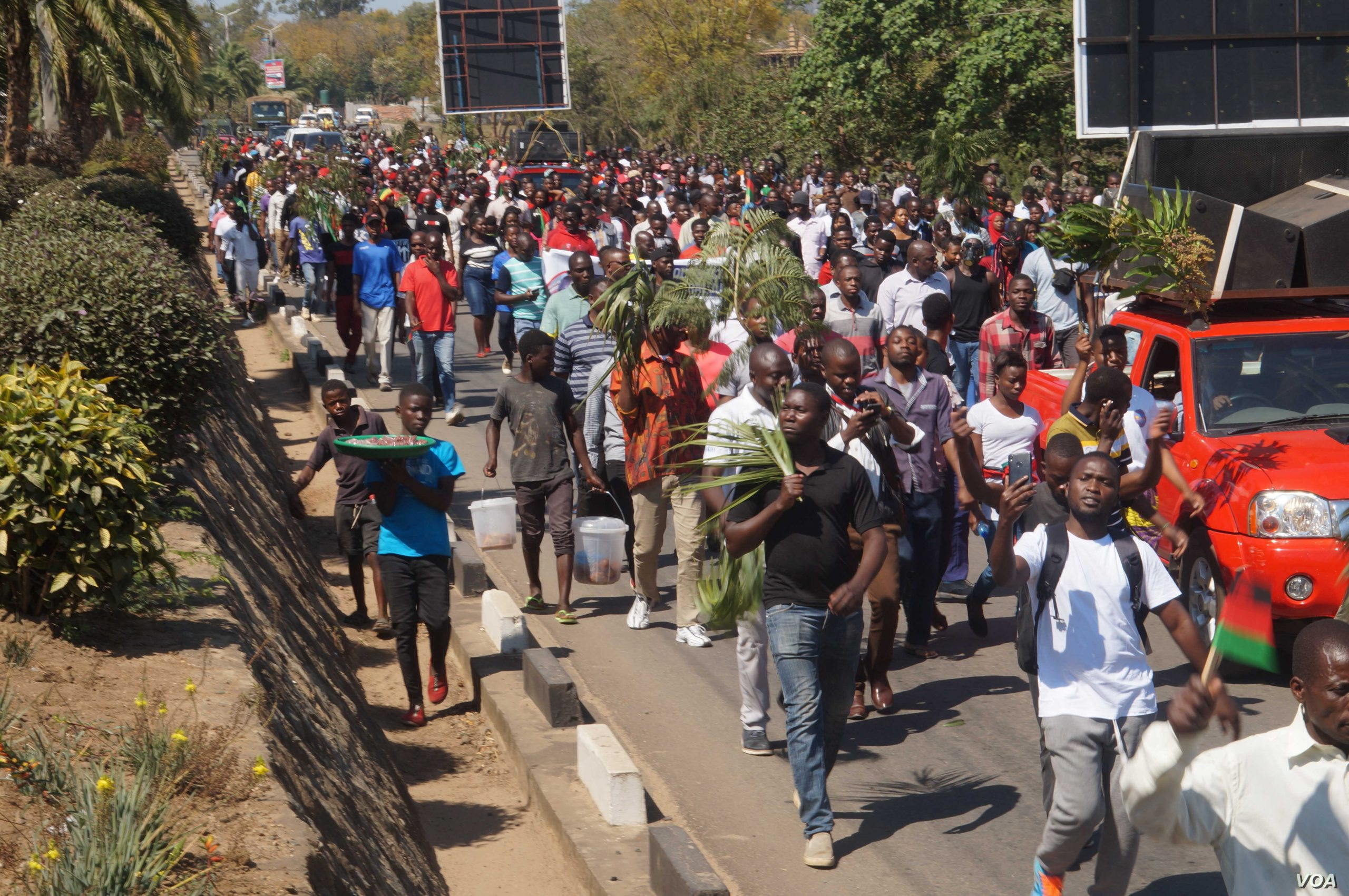 Malawians protesting the election.