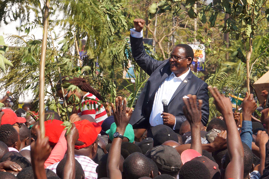 Malawi Congress Party leader Lazarus Chakwera addressing protesters in Blantyre on July 25, 2019.