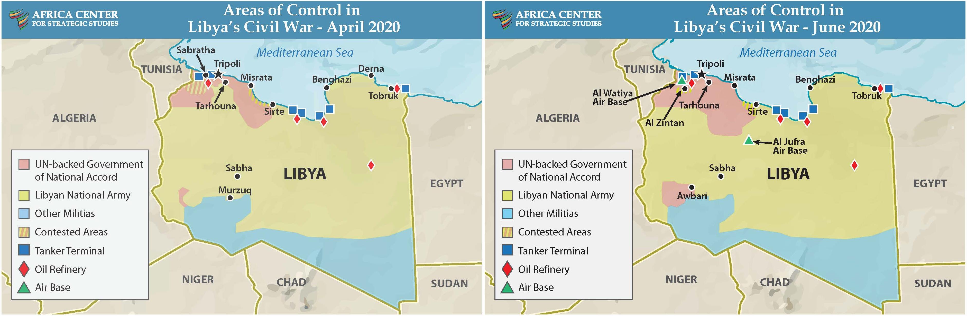 Areas of Control in Libya's Civil War, April and June 2020