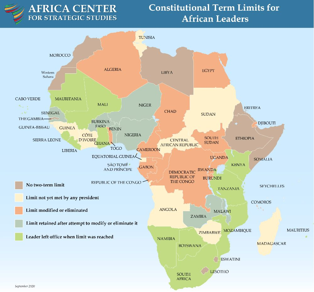 Map - Constitutional Term Limits for African Leaders