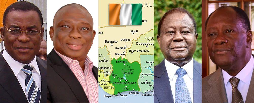 Les candidates à l'élection présidentielle en Côte d'Ivoire (de gauche à droite) : Pascal Affi N'Guessan, Kouadio Konan Bertin, Henri Konan Bedie et Alassane Ouattara.