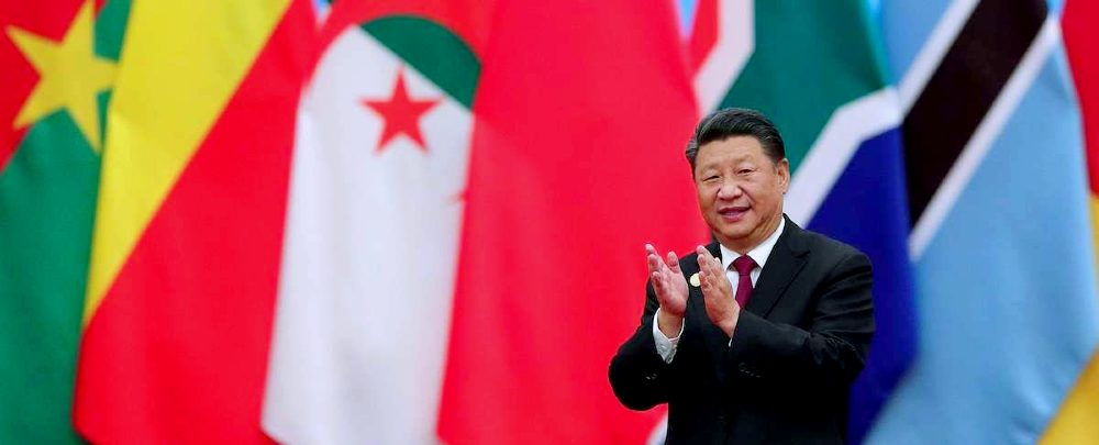 Xi Jinping with African flags