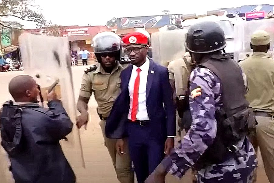 Ugandan presidential candidate Bobi Wine being arrested in January 2020.