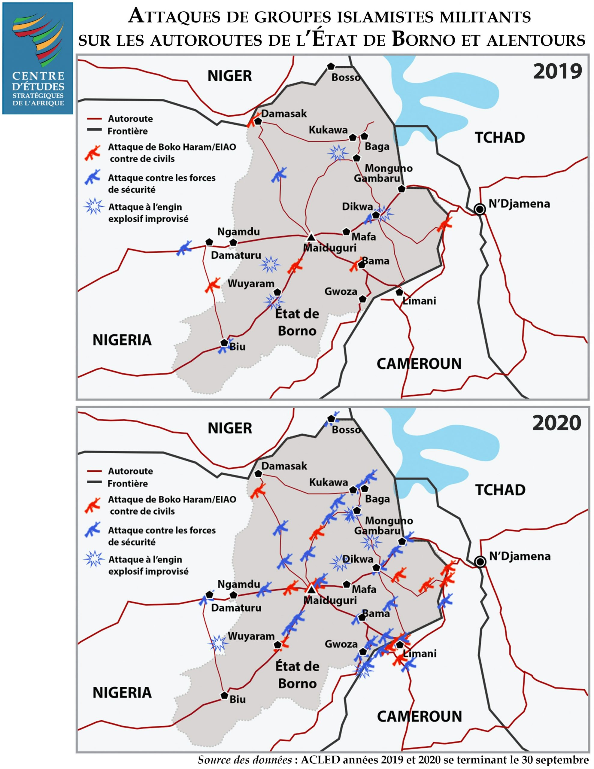 Attaques de groupes islamistes militants sur les autoroutes de l'État de Borno et alentours