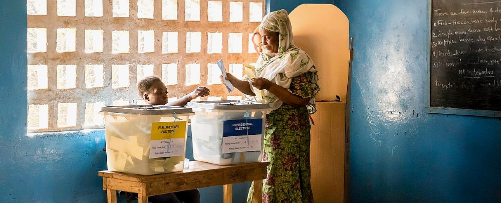 A woman voting in Sierra Leone in 2018.
