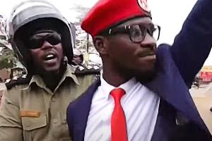 Uganda presidential challenger Bobi Wine being arrested