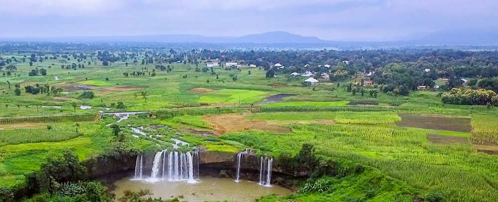Matsirga waterfall and surrounding farmland in Kaduna State.
