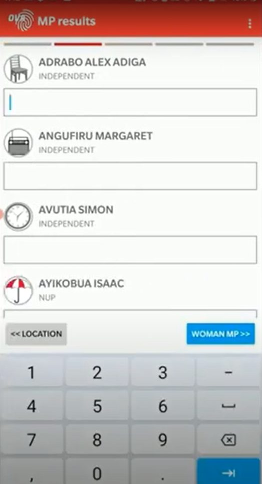 An entry screen in the Open Vote Africa app