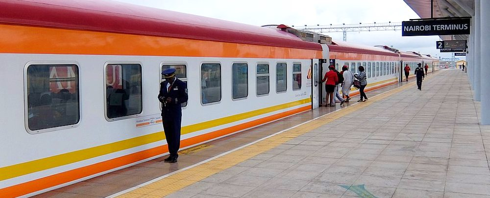 Platform at the Nairobi terminus of the Mombasa–Nairobi Standard Gauge Railway