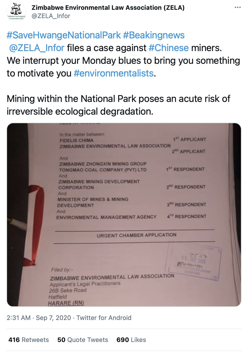 A tweet by the Zimbabwe Environmental Law Association about a lawsuit regarding Chinese mining licenses.