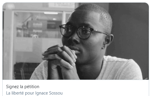 Screenshot of an online petition for Ignace Soussou's freedom