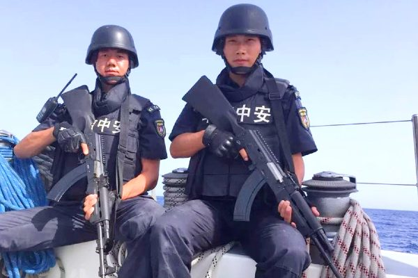Members of Chinese private security contractor Hua Xin Zhong An's maritime protection service