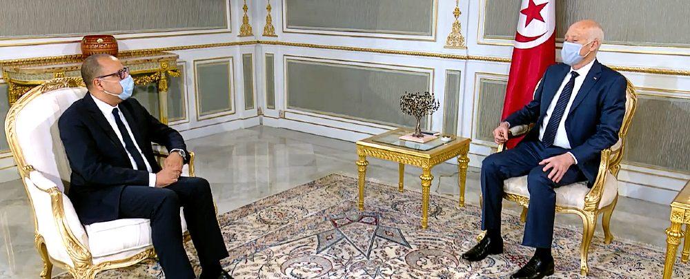 Tunisian President Kaïs Saïed and then–Prime Minister Hichem Mechichi