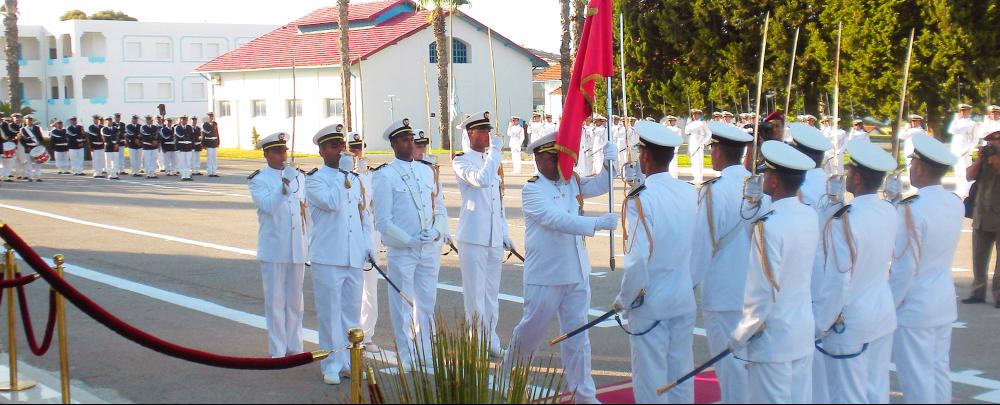 Flag raising ceremony at Tunisia's naval academy.