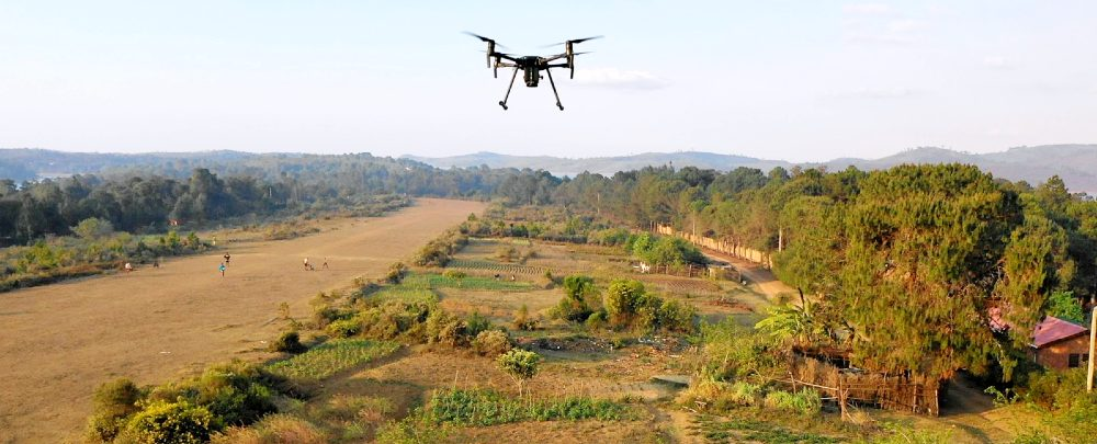 A drone flying above Madagascar