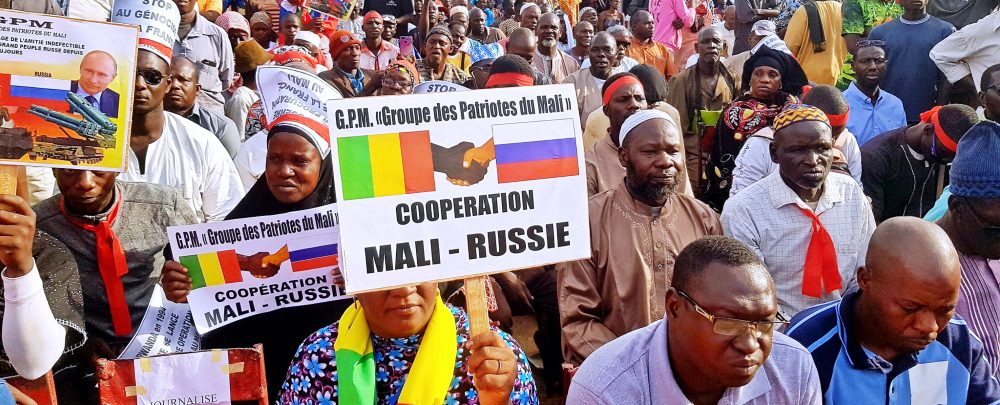 A rally organized by pro-Russia Groupe des Patriotes du Mali.